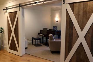Barn style sliding doors to music room