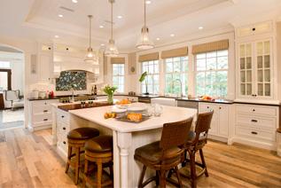 Fancy kitchen with hardwood floor and fixtures