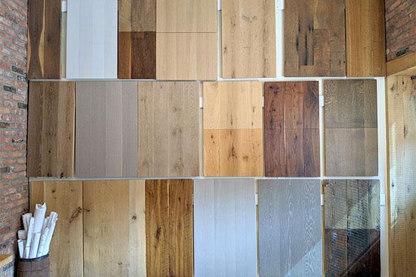 Flooring samples in Hunt Hardwood showroom